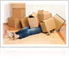 Piled Boxes on a Woman